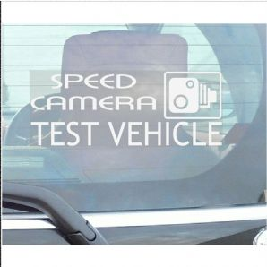 1 x Speed Camera Test Vehicle-Car Window Sticker-Fun,Self Adhesive Vinyl Sign for Truck,Van,Vehicle